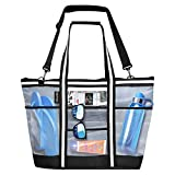 Vulken 42L Extra Large Mesh Beach Bag. Multipurpose Tote Bag Shoulder Bag for Picnic, Travel, Shopping and Gym. 9 Pockets Top Zip Quick Dry Swim Bag for Women and Men.