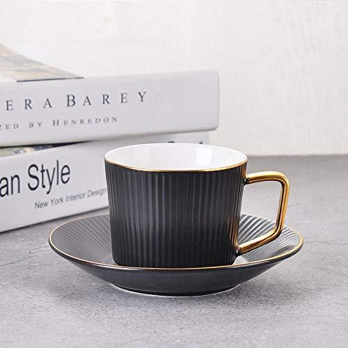Originaliteit Liefhebbers Koffiekop Schoteltjes Pak Zwart Wit Keramiek Melk Ontbijt Mok Kantoor Streep Zwarte Thee Geurende Thee Theekop 240 ml-201-300ml_B