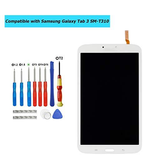 Upplus E-YIIVIIL Ersatz LCD Display Kompatibel Für Samsung Galaxy Tab 3 SM-T310 Ersatzteil Reparatur Anzeige LCD Touch Screen with Toolkit (Weiß)