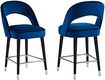 MyChicHome Sarkis Set of 2 Modern Velvet & Metal 26'' Counter Stool in Blue