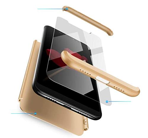 AKC Funda Compatible Huawei Mate 10 con 360°Todo Incluido Anti-Scratch, con 2 * HD Vidrio Templado Carcasa Case,Ultra Fina 3 en 1 Hard PC Caja Cover Resistente al Desgaste-Gold