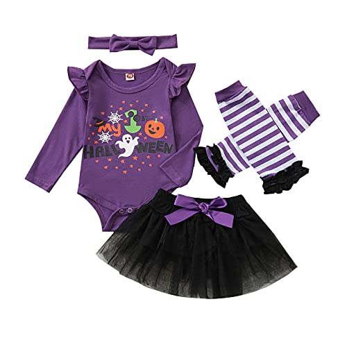 GenericBrands Tops de Mam uco de Halloween para BebéS ReciéN Nacidos + Falda Tutu + Calentador de Piernas +Conjuntos de Diadema