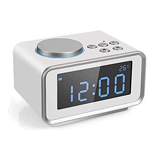 ZouYongKang Reloj de Alarma Digital LED con Snooze, fácil de operar, Puerto de Carga USB con función de Alarma Dual Termómetro Interior de 6 Niveles 12/24 Horas de Brillo