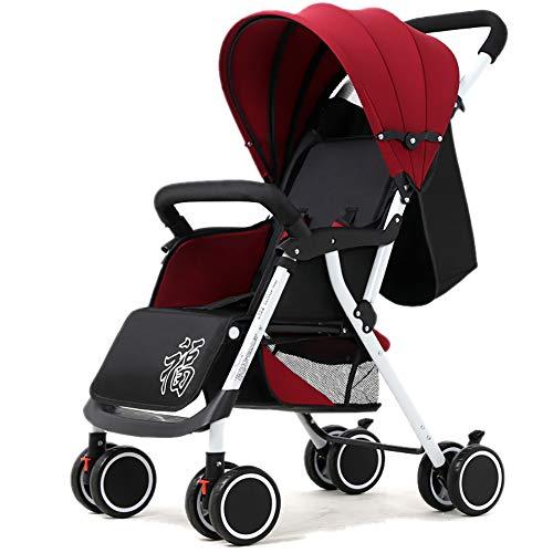 Poussettes JCOCO pour bébé, Chariot Universel pour bébé, léger, Pliable, à 4 Roues, Suspension Universelle (Couleur : Red)