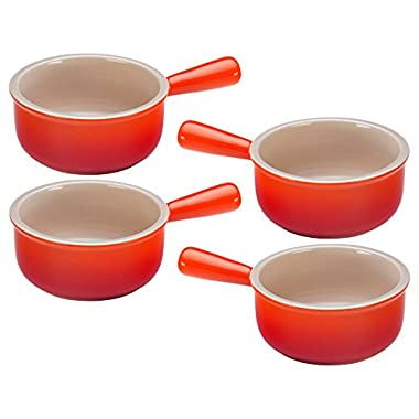 Le Creuset Flame Stoneware French Onion Soup Bowl, Set of 4