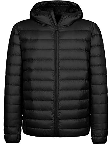 Wantdo Men's Backpacking Hooded Packable Light Weight Down Jacket Black XX-Large