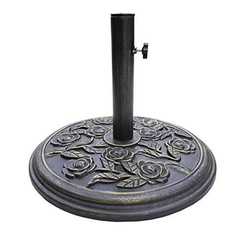 Silver & Stone 8kg Milano Cast Iron Effect Bronze Garden Parasol Base | Outdoor Floral Design Umbrella Stand For Garden Decking And Patios