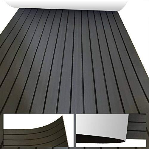 "EVA Foam Flooring 35.4"" x 94.5"" Teak Sheet Decking Marine for Fish Boat RV Car Yacht Non-Slip Self-Adhesive Flooring Mat Pad (Dark Gray with Black Stripes)"