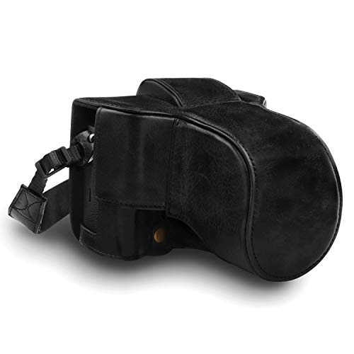 MegaGear MG1550 Fujifilm X-T3 (XF23mm - XF56mm & 18-55mm Lens) Ever Ready Echtleder Kamera-Case mit Trageriemen - Schwarz