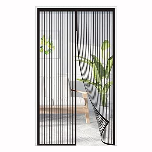 ERPENG Fliegennetz Vorhang 100x205cm Magnetverschluss faltbar Türvorhang Vorhang einfach zu montieren Ohne Bohren für Balkontür Terrassentür Kellertür, Schwarz