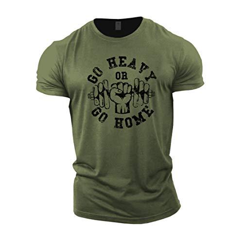 GYMTIER Herren-Bodybuilding-T-Shirt – Go Heavy or Go Home – Trainings-Oberteil für Fitnessstudio Gr. M, grün