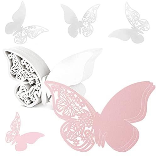 Tarjetas con nombre para el lugar, 100 tarjetas con forma mariposa para el lugar de la boda tarjeta de copa hueca para boda compromiso fiesta favor número mesa champán copa de vino decoración superior