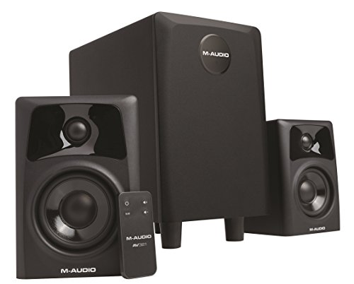 M Audio AV32.1 - Kompakte, aktive Desktop-Lautsprecher /Studiomonitore mit Subwoofer in Referenzqualität für Playback, Gaming, professionelle Mediengestaltung
