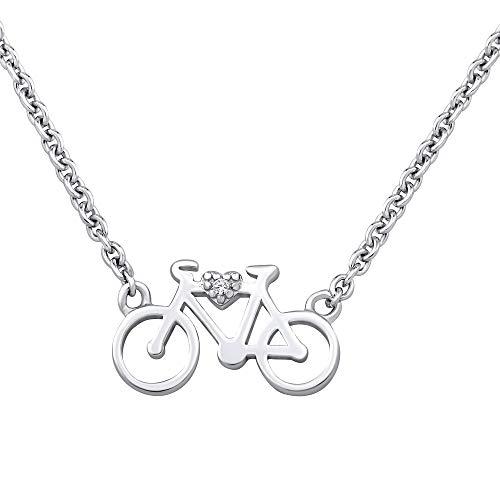 SILVEGO Damen Halskette aus 925 Sterling Silber Fahrrad mit Zirkonia