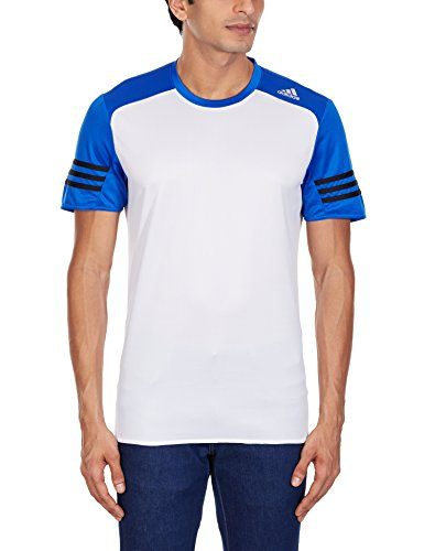 Adidas Response T-Shirt Manches Courtes Homme, Blanc/Bleu, FR : L (Taille Fabricant : L)