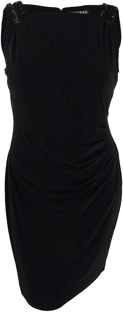 LAUREN RALPH LAUREN Women's Georgette Sheath Dress (16, Black)