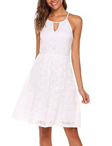 ACEVOG Damen Elegant Spitzenkleid Minikleid Sommerkleid Abendkleid Sommer Festlich Neckholder Knielang Weiß Weinrot Schwarz Gr.S-XXL
