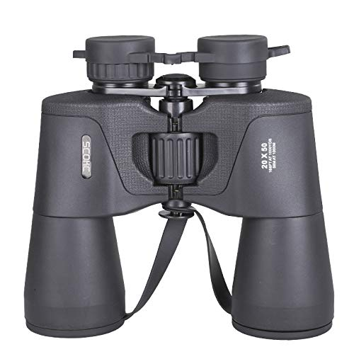 SCOKC Binóculos 20x50 de alta potência, Compact HD Professional/Daily Waterproof Binoculars Telescope para adultos Birdwatching Caça para viagens Football-BAK4 Prism FMC Lens-com case e alça