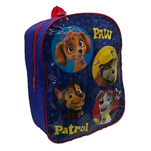SM Paw Patrol Kids/Childrens Backpack, Glossy Blue with Adjustable Straps for Home, School, Nursery, 30cm (H) x 26cm (W) x 9.5cm (D)