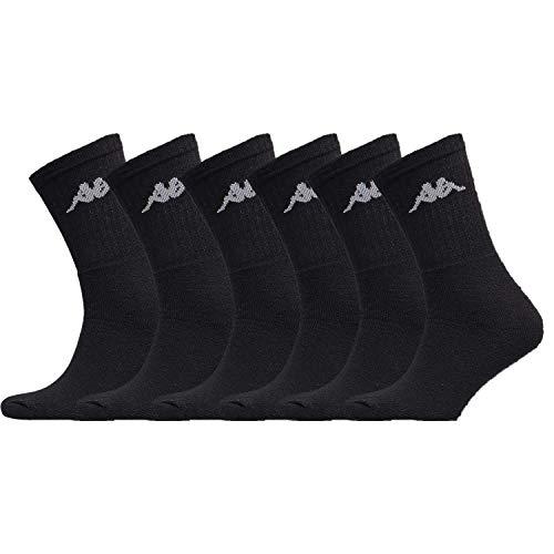 Kappa – 6 Paar Herren-Socken, weiß, grau oder schwarz, aus Baumwolle – Sportsocken für Herren Tennis/Running/Walking/Fuß/Basketball/Multisport Gr. 43/46, Schwarz