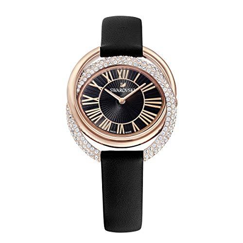 Swarovski Duo horloge, lederen armband, zwart, rosé vergulde PVD-afwerking