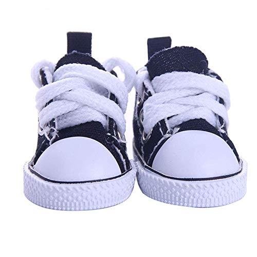 WeiHaoJian Pop Accessori Scarpe 5cm Tela Denim Mini Giocattoli Shoes1/6 Abito Scarpe da Ginnastica Stivali - Nero, Normal
