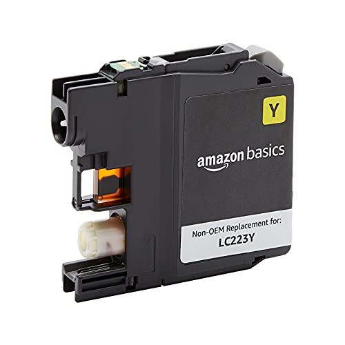Amazon Basics - Cartucho de tinta regenerado de rendimiento estándar, repuesto para Brother LC223, estándar, paquete de 1unidad (color amarillo)