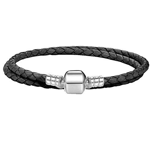 Charm Buddy 38cm / 19cm Womens Double Wrap Braided Leather Charm Bracelet with Gift Box (2. Black)