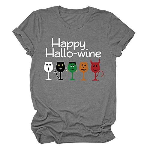 Camiseta Unisex Happy Hallo Wine Pumpkin Wine Camiseta de Manga Corta Pumpkin Wine Cáliz Blusas Casuales Divertidas Camiseta Disfraz de Halloween Camiseta Unisex