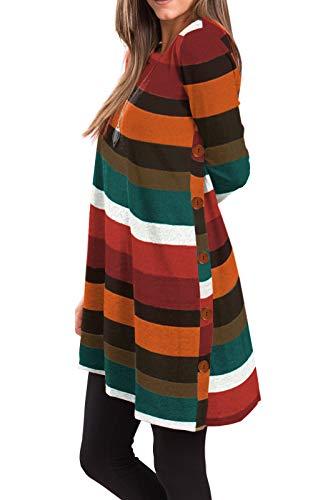 iGENJUN Women's Long Sleeve Scoop Neck Button Side Sweater Tunic Dress,M,AW-7