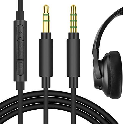 Geekria QuickFit Cable de Audio para Auriculares COWIN E7, E8, E7 Pro, Anker Soundcore Life Q20, Life Q10, Cable de Repuesto(Negro 5.6FT)
