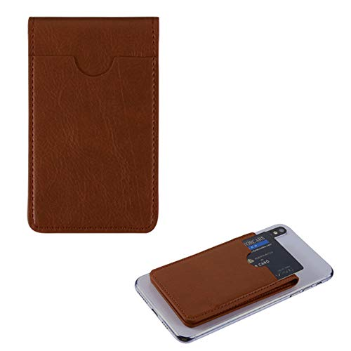 Pocket+Stylus, Fits Universal LG ALCATEL Samsung MYBAT Brown Leather Adhesive Card Pouch/Stand. Soft Spandex Sleeve Secure Wallet.Fits Most Phones,Tablets,Gadgets w Flat Surface.See Models Below: