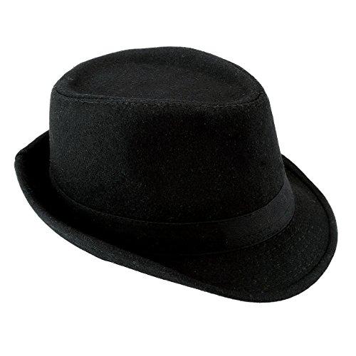 Chic Diary Triilby Fedoras Panama Jazz Hut Kurze Krempe Bowler Hut für Herren und Damen Gr. Einheitsgröße, Schwarz