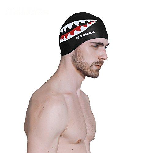 kikomia Haifisch-Muster Hochwertige Badekappe Schwimmkappe Silikon Unisex wasserdichte rutschfeste Schwimmhaube Schwarz Eine Größe