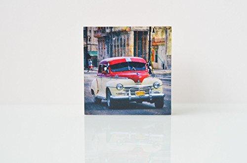 Oldtimer Havanna Kuba Foto auf Holz, im Quadrat, 8 x 8 cm