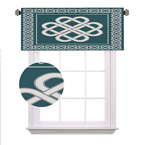 Irish Window Valance,Celtic Love Knot Symbol of Good Fortune Framework Border Historical Amulet Design Decorative Curtain Valance for Kitchen Bedroom Decor with Rod Pocket,42'x18',Blue and White