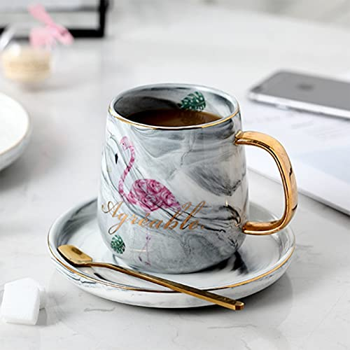 Porcelain Cup Nordic Phnom Penh Marble Coffee Mugs Luxurious Flamingo Water Cafe Tea Milk Porcelain Cups Condensed Ceramic Cup Saucer Suit (Color : Gray Saucer)