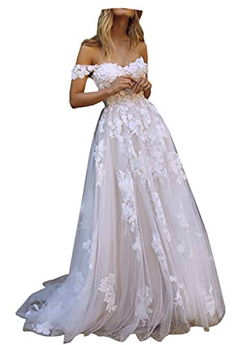 Fanciest Women's Off Shoulder Appliques Lace Wedding Dresses for Bride Boho Wedding Dress White Champagne US2