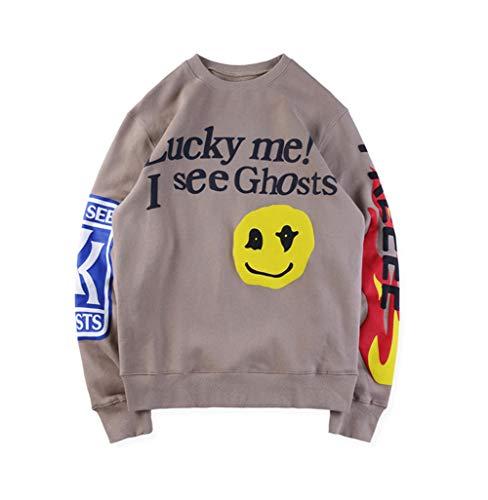 Unisex Hoodie Sweatshirts Lucky Me!I See Ghosts Trendige Hip Hop Männer Basis-Plus Size Pullover Kapuzen Pullover,Khaki,XL