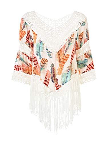 Ferand Damen Poncho Bluse Tunika Top mit V-Ausschnitt, Langen Quasten und Blumenaufdrucken, Einheitsgröße, Stil 2: Mehrfarbige Orange, Einheitsgröße, Stil 2: Mehrfarbige Orange