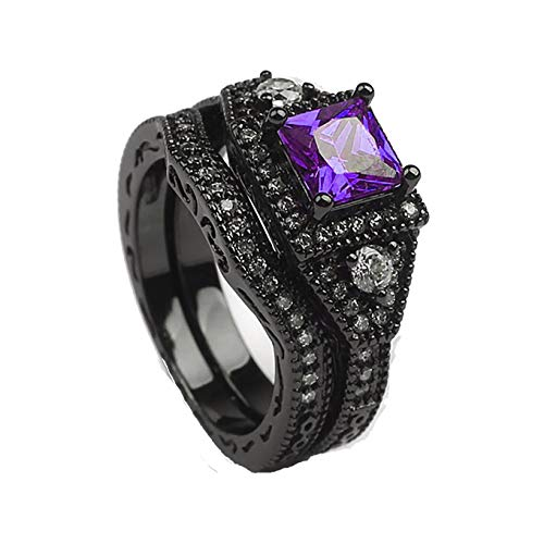 Danielle Bridal Set Black Purple Pink or Blue Cubic Zirconia Black Plated Wedding Band Engagement Ring for Women by Ginger Lyne Gothic Birthstone Fashion Jewelry Size 7