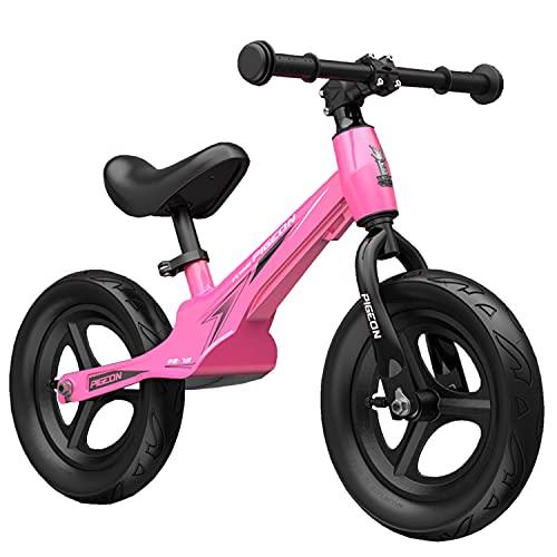 WYYY Super Lightweight Magnesiumlegierung Balance Bike AWD 18 Monate Bis 8 Jahre Alt Jungen & Mädchen Kleinkind Kinder Mit 12 Zoll No-punktion-räder(Color:Rosa)