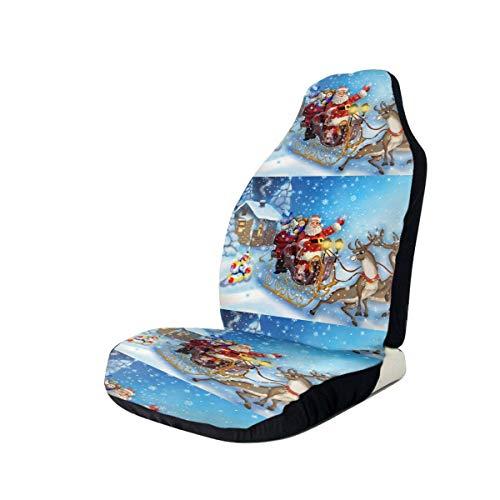 Weihnachtsmann im Schlitten Rentier Schneeflocke Autositzbezüge Flexible Reifenspuren Autositz Zubehör für Autos LKW SUV 2 STÜCKE