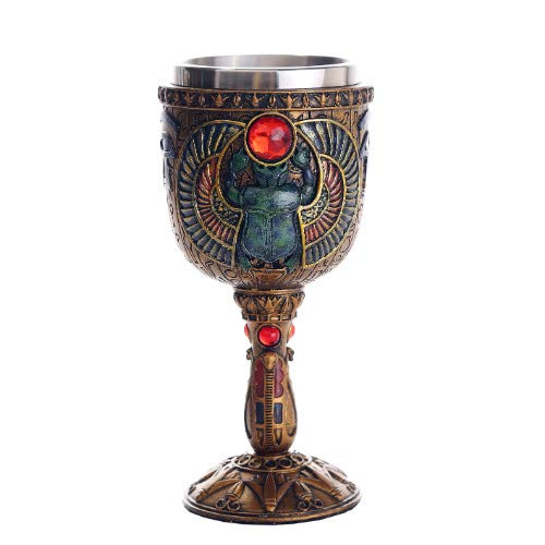 Pacific Giftware Ancient Egyptian Winged Scarab Ceremonial Chalice Cup 7oz Wine Goblet