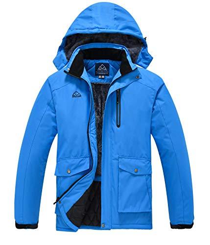 Rdruko Men's Waterproof Ski Snowboard Fleece Jacket Snow Winter Coat Rain Jacket Hooded Blue Medium