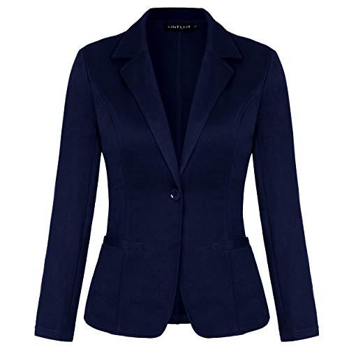 MINTLIMIT Damen Kurze Blazer Elegante Slim Fit Jacke Anzug Business Büro Cardigan Kurzjacke Lange Arm mit Taschen(Navy,Größe S)