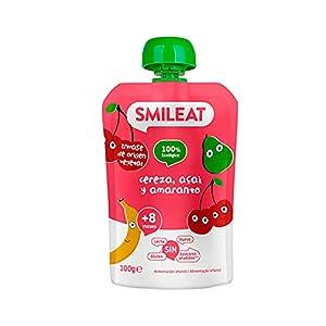 Smileat - Pouch Ecológico de Cereza, Açai y Amaranto, Ingredientes Naturales Bebibles, Para Bebés a Partir de los 8 Meses - 100g