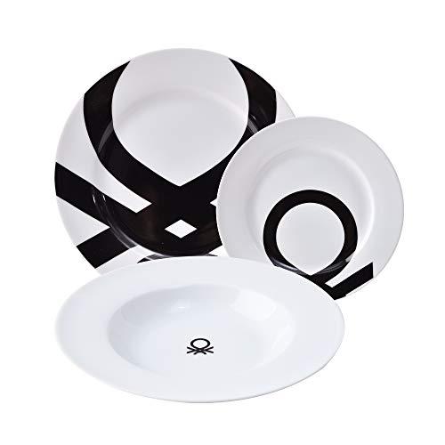 UNITED COLORS OF BENETTON. BE107 Set 18pcs vajilla porcelana diseño logo estampado negro Casa Benetton