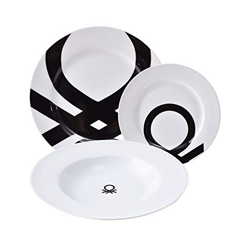 UNITED COLORS OF BENETTON. BE107 Set 18pcs vajilla Porcelana diseño Logo Estampado Negro Casa Benetton