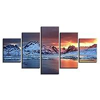 キャンバスHDプリントリビングルームの写真壁アート5ピースアイスランドオーロラ絵画雪山ポスター家の装飾  30x40 30x60x2 30x80cm /フレームなし